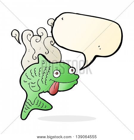 cartoon smelly fish with speech bubble