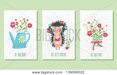 Set of three children's post cards. Cute birthday cards. Can be used for birthday party invitations and greeting cards.