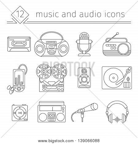 Music and audio icons in a linear style symbols of retro tape cassette boombox turntable records.