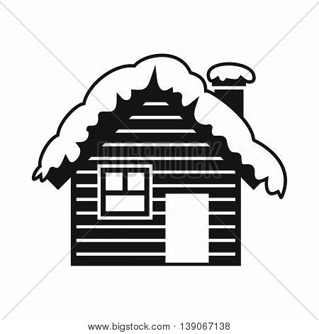 Wooden house covered with snow icon in simple style isolated vector illustration
