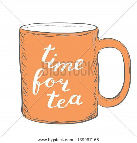 Time for tea. Brush hand lettering. Handwritten words on a sample mug. Great for mugs, posters, home decor and more.