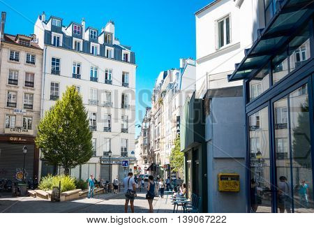 PARIS, FRANCE - July 17 : beautiful Street view of  Buildings around Paris city. Paris is the capital and most populous city of France. May 7, 2016, Paris, France.