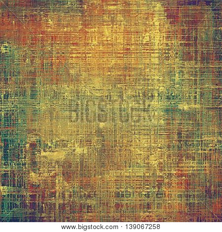 Abstract vintage background with faded grungy texture. Aged backdrop with different color patterns: yellow (beige); brown; gray; green; red (orange); purple (violet)