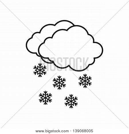 Cloud and snowflakes icon in outline style on a pink background