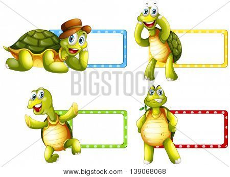 Lable design with green turtles illustration