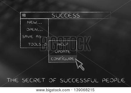 Success Dropdown Menu, Pointer Selecting The Configure Option