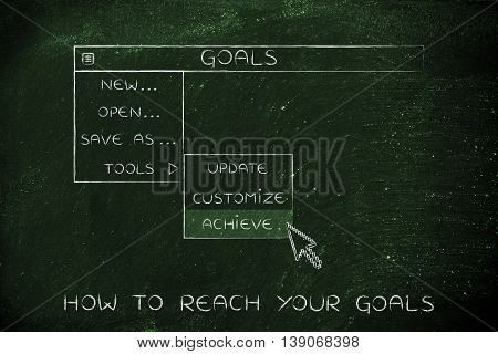 Goals Dropdown Menu, Pointer Selecting The Activate Option