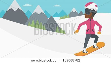 An african-american sportswoman snowboarding on the background of snow capped mountain. Woman snowboarding in the mountains. Snowboarder in action. Vector flat design illustration. Horizontal layout.