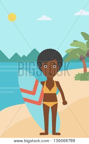 An african-american female surfer standing with a surfboard on the beach. Female professional surfer with a surf board at the beach. Vector flat design illustration. Vertical layout.