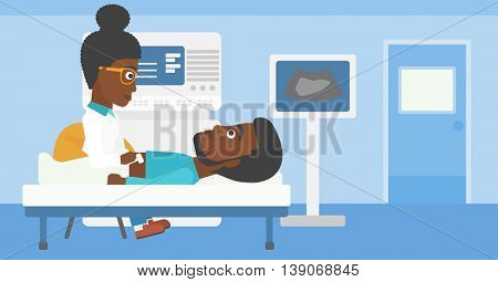 An african-american young female doctor examining internal organs of a male patient on the modern ultrasound equipment at medical office. Vector flat design illustration. Horizontal layout.