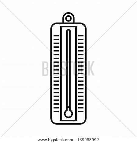 Thermometer indicates low temperature icon in outline style isolated vector illustration