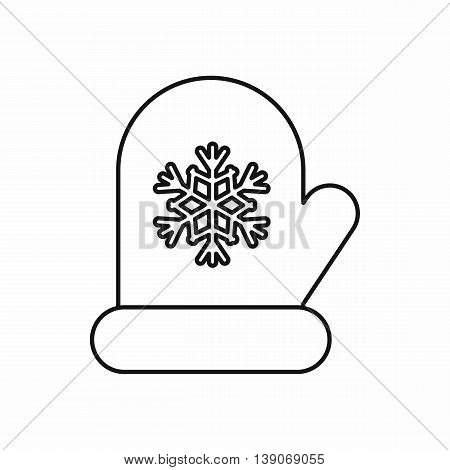 Mitten with white snowflake icon in outline style isolated vector illustration