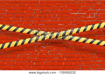 Rust aged grungy brick wall vector background with danger do not cross police tapes