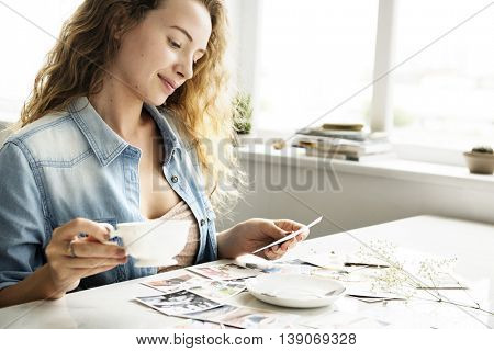 Girl Smiling Reminiscing Photos Concept