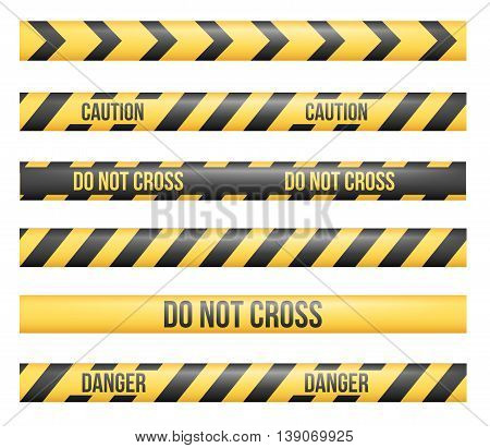 Vector set of seamless Danger and Police Tape Lines for restriction and dangerous zones, construction site, crime places