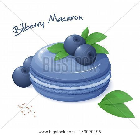 vector illustration of realistic isolated bilberry macaron with fresh ripe bilberry berries and leaves.