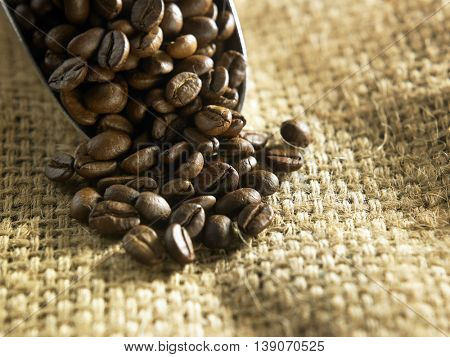 shovel of roasted coffee bean on the sack cloth