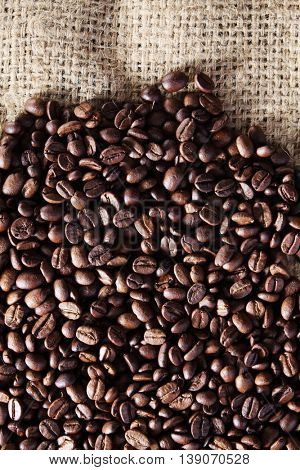 roasted coffee bean on the sack cloth