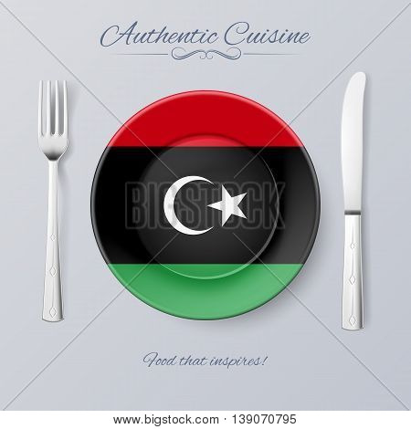 Authentic Cuisine of Libya. Plate with Libyan Flag and Cutlery