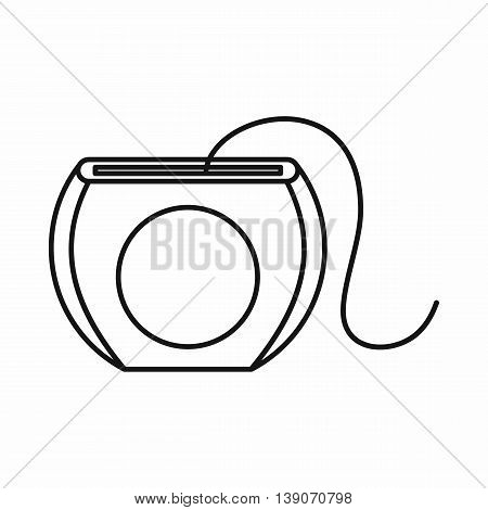 Dental floss icon in outline style isolated vector illustration