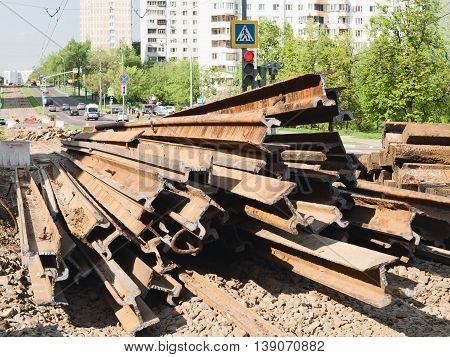 Repair work on the replacement of tram tracks in Moscow, 2016. Cut the old rails, black metal