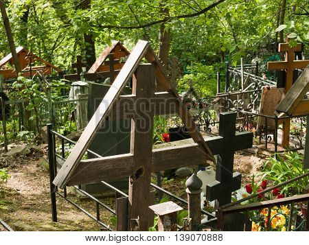 Orthodox crosses on the Danilovsky cemetery in Moscow