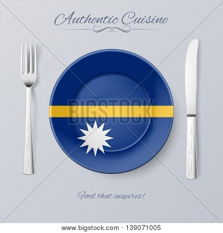 Authentic Cuisine of Nauru. Plate with Nauruan Flag and Cutlery