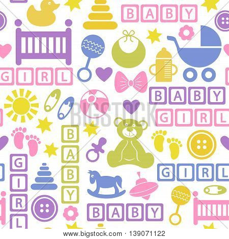 seamless pattern with icons for baby girl - vector illustration, eps