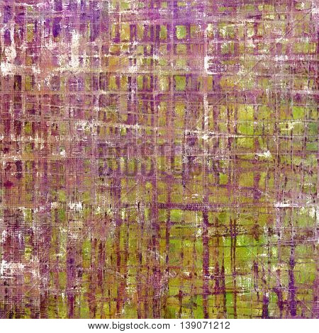 Abstract vintage background with faded grungy texture. Aged backdrop with different color patterns: yellow (beige); brown; gray; green; purple (violet); pink