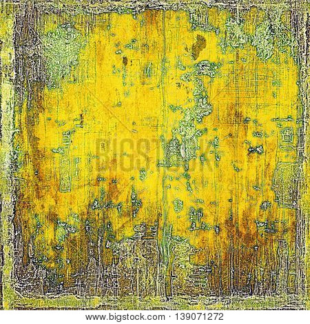 Vintage texture, old style frame decoration with grunge graphic elements and different color patterns: yellow (beige); brown; gray; green