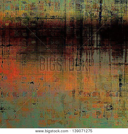 Scratched background with retro style overlay. Aged texture with different color patterns: yellow (beige); brown; black; green; blue; red (orange)