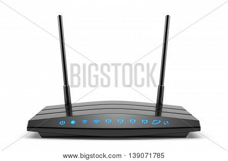 3d modern wireless wi-fi black router with two antennas and blue indicators isolated on white. High speed internet connection firewall computer network and telecommunication technology concept
