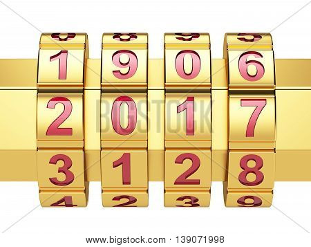 Golden 2016 Year Combination Lock