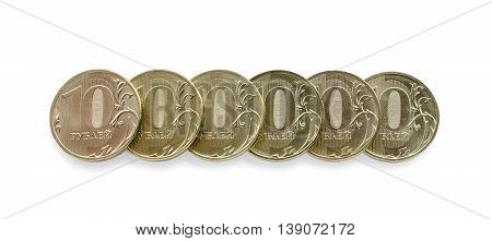 Six of coins stacked as one million rubles