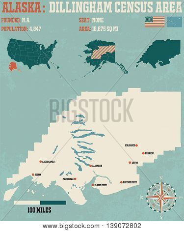 Large and detailed infographic of the Dillingham Census Area in Alaska