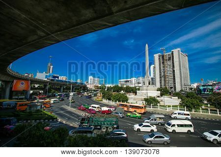 Bangkok, Thailand July 18, 2016: View of the Victory Monument the big military monument in Bangkok,Thailand