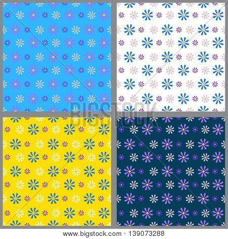 Set of four seamless patterns with blue and lilac and white little cornflowers on the background of a different color. Summer vector illustration. Suitable for textilefabrics wrapping paper.
