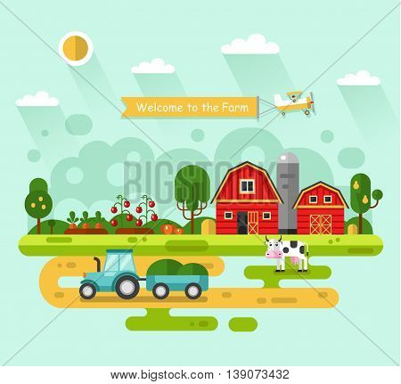 Flat design vector rural landscape illustration with farm building, barn, garden, beds of carrots, tomatoes, pumpkin, cow. Farming, agricultural, organic products concept. Airplane with banner.