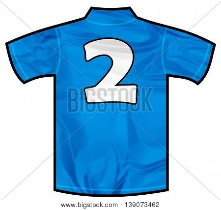 Number 2 two Blue sport shirt as a soccer, hockey, basket, rugby, baseball, volley or football team t-shirt. Like Italy or France national team