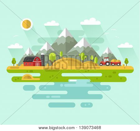 Flat design vector rural landscape illustration with farm building, barn, tractor, field, mountains, waterside, river. Farming, agricultural, organic products concept.