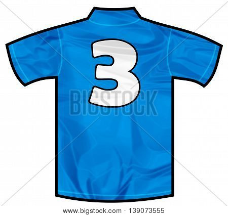 Number 3 three Blue sport shirt as a soccer, hockey, basket, rugby, baseball, volley or football team t-shirt. Like Italy or France national team