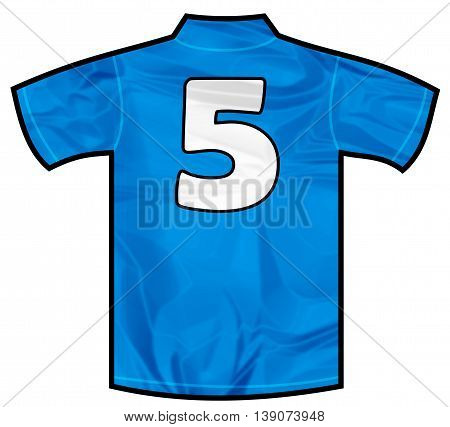Number 5 five Blue sport shirt as a soccer, hockey, basket, rugby, baseball, volley or football team t-shirt. Like Italy or France national team