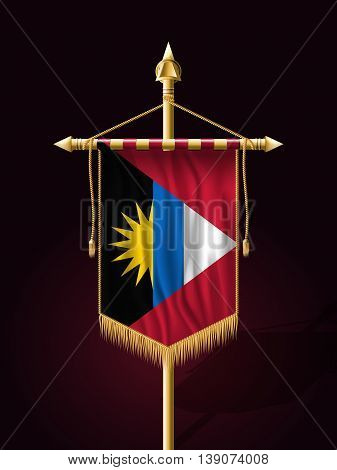 Flag Of Antigua And Barbuda. Festive Banner Vertical Flag With Flagpole