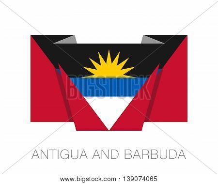 Flag Of Antigua And Barbuda. Flat Icon Wavering Flag With Country Name