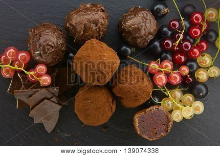 Set of chocolate candie with currants, chocolate collection