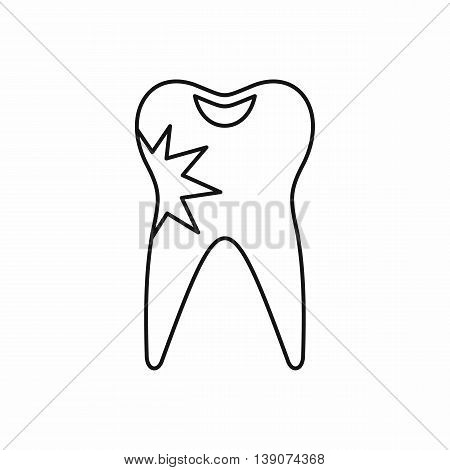 Cracked tooth icon in outline style isolated vector illustration