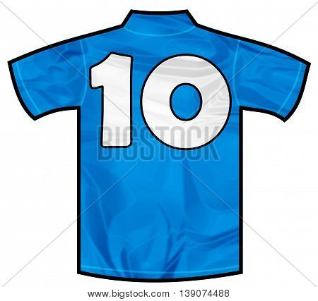 Number 10 ten Blue sport shirt as a soccer, hockey, basket, rugby, baseball, volley or football team t-shirt. Like Italy or France national team
