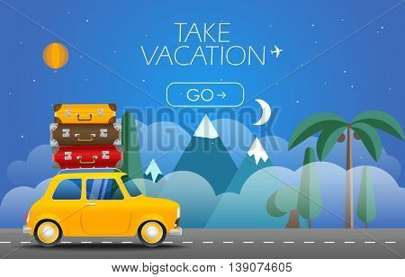 Take Vacation travelling concept. Flat design illustration. Retro car with bags
