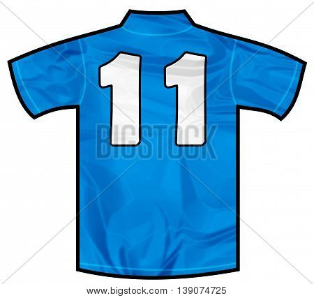 Number 11 eleven Blue sport shirt as a soccer, hockey, basket, rugby, baseball, volley or football team t-shirt. Like Italy or France national team