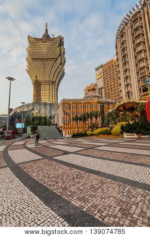 Senado, Macau - February 2, 2015: Grand Lisboa Hotel comprised of an ultramodern tower rising from a striking geodesic dome, this iconic casino hotel